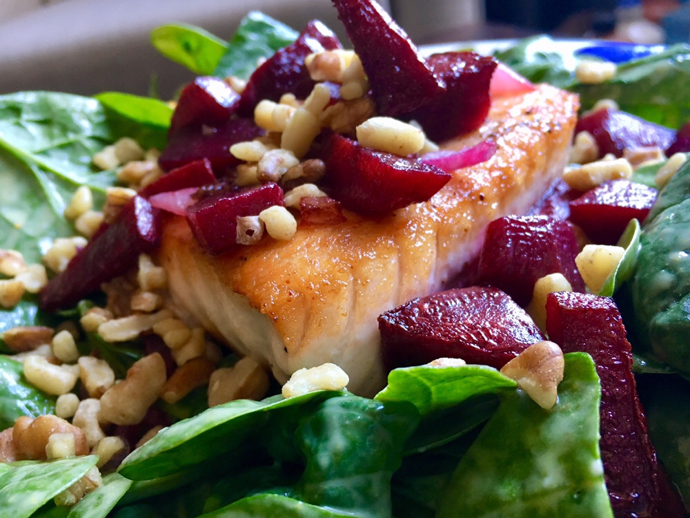 Salmon & Beet Spinach Salad