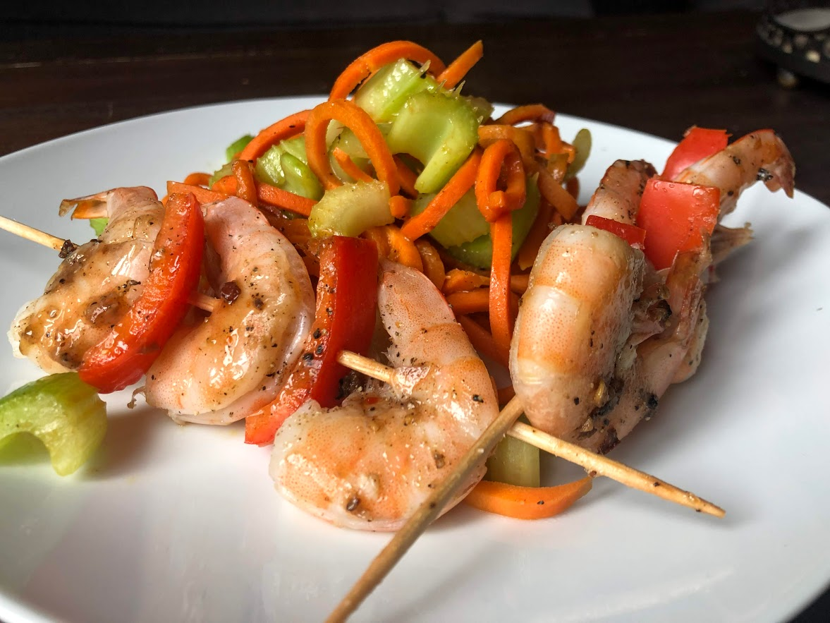 Easy Shrimp Skewers with Spiralized Carrots